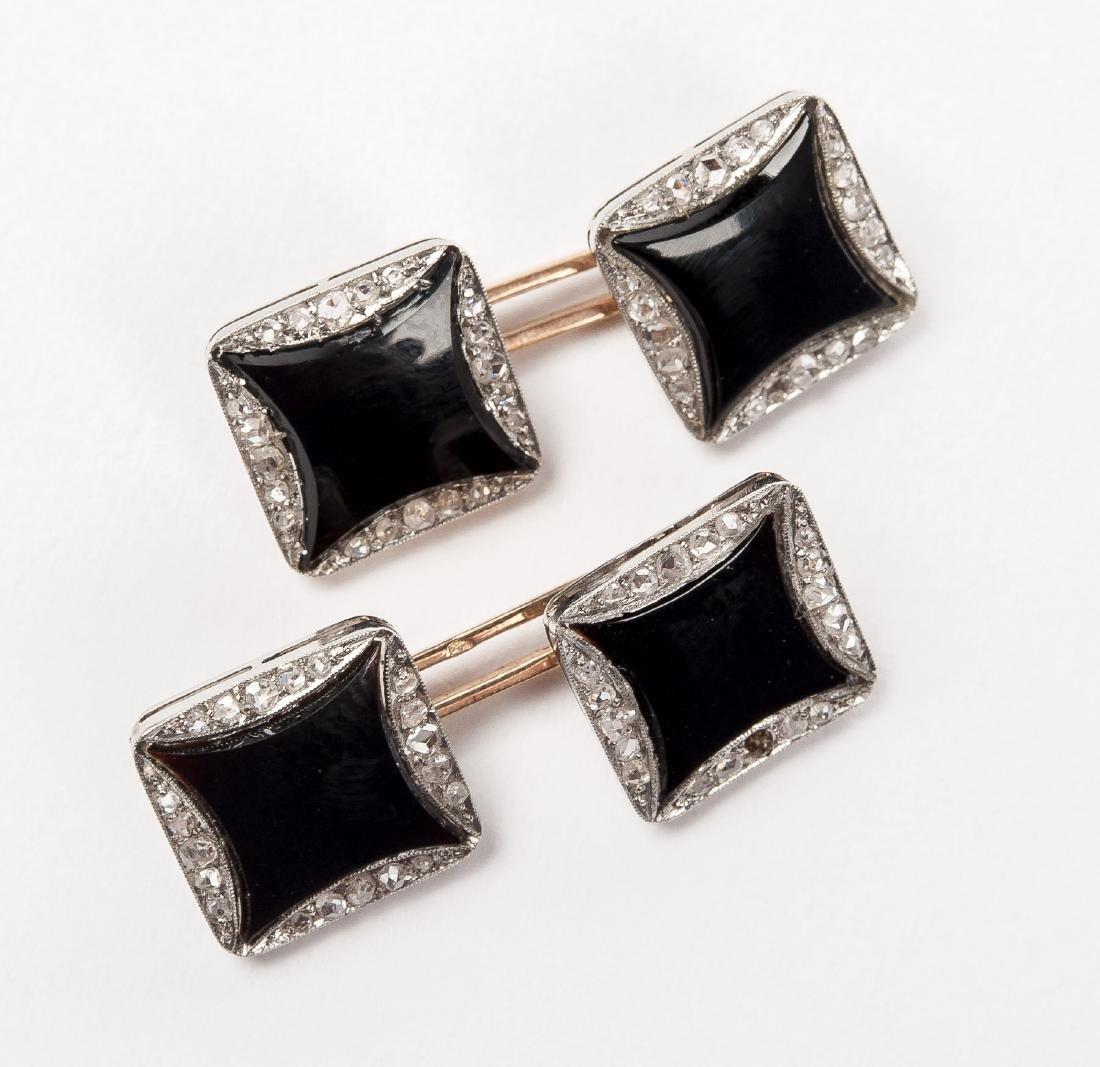 18K Enamel & .37 CTW Diamond Cufflinks