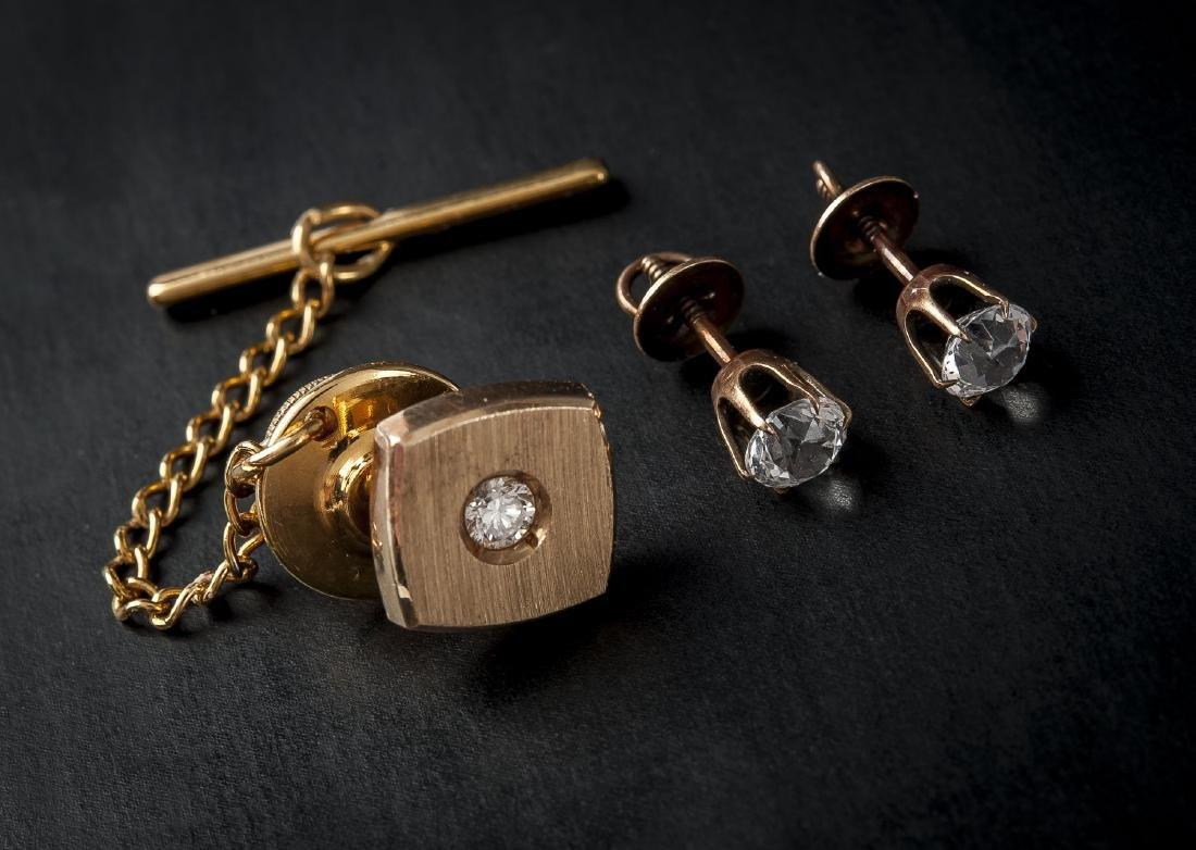 .70 CTW Diamond Stud Earrings & 14K Tie Pin