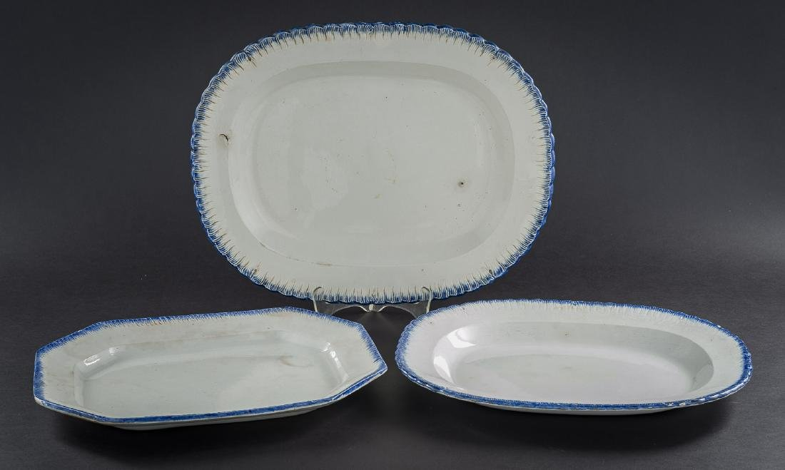 3 Feather Edge Pearlware Platters