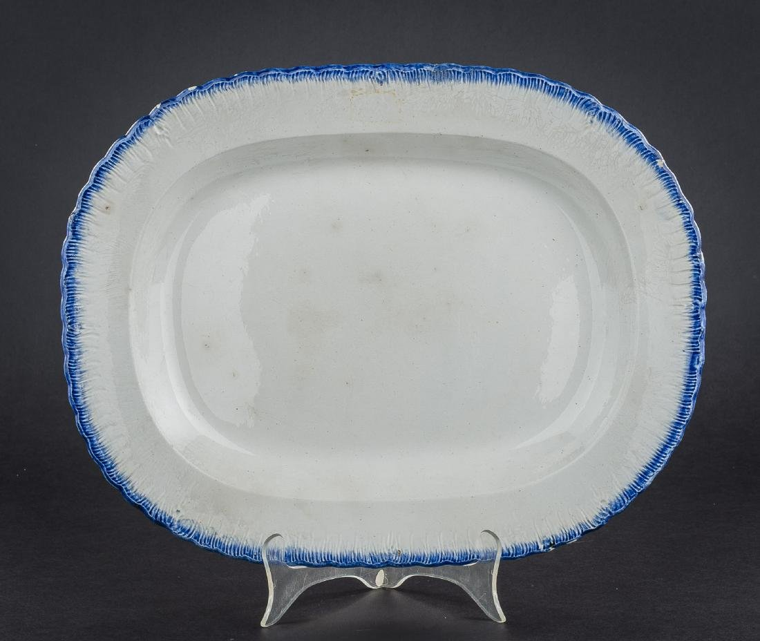 3 Feather Edge Pearlware Platters - 9