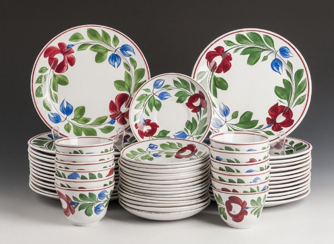 54 Pc Late Adams Rose Ironstone Dish Set