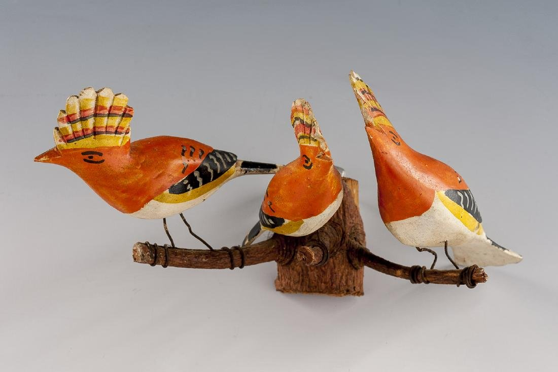 8 Folk Art Carved Bird Groupings - 10