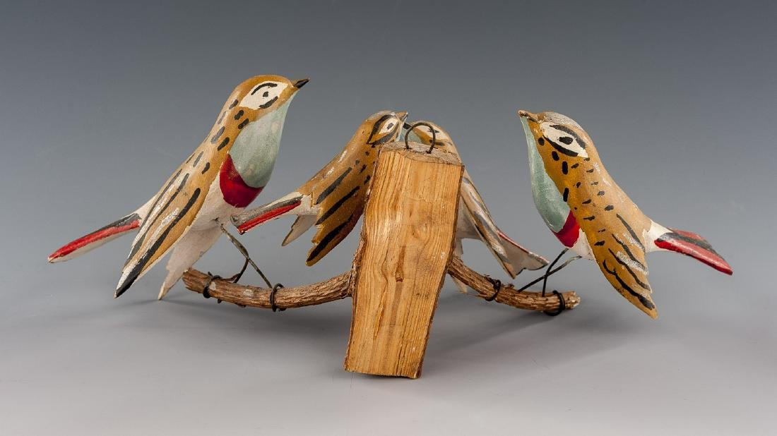 8 Folk Art Carved Bird Groupings - 14