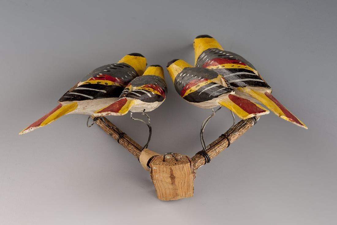 8 Folk Art Carved Bird Groupings - 16