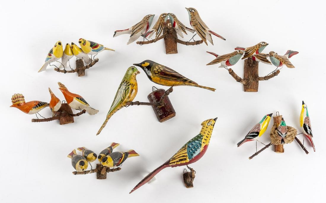 8 Folk Art Carved Bird Groupings