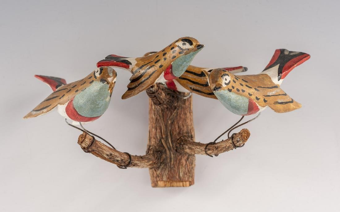 8 Folk Art Carved Bird Groupings - 5