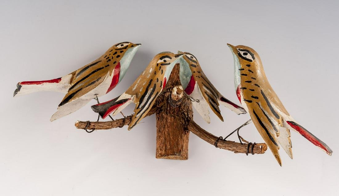 8 Folk Art Carved Bird Groupings - 8