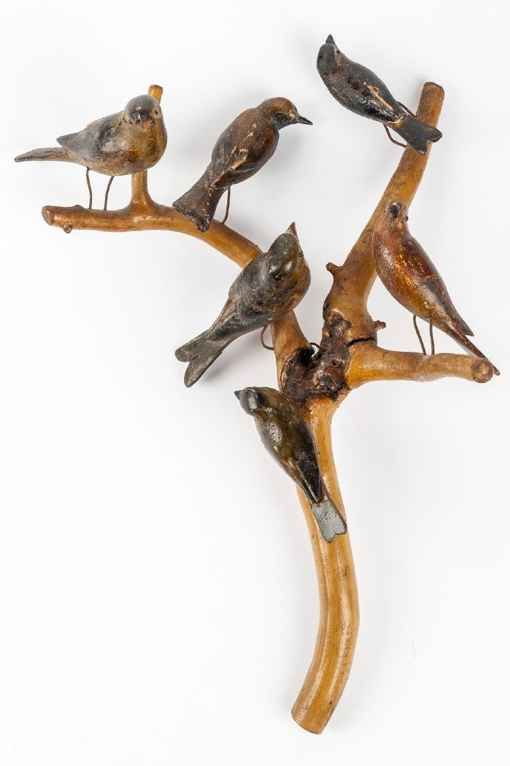 Folk Art Carved Birds on Branches