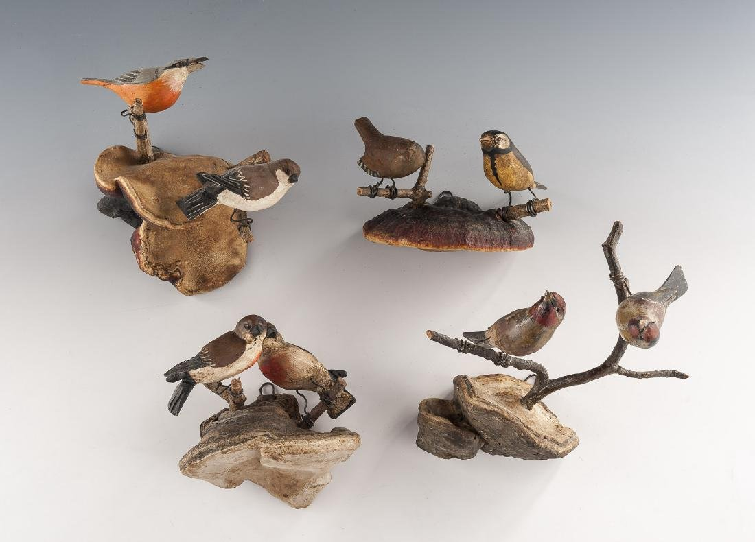 4 Carved Bird Groupings on Fungus Mounts