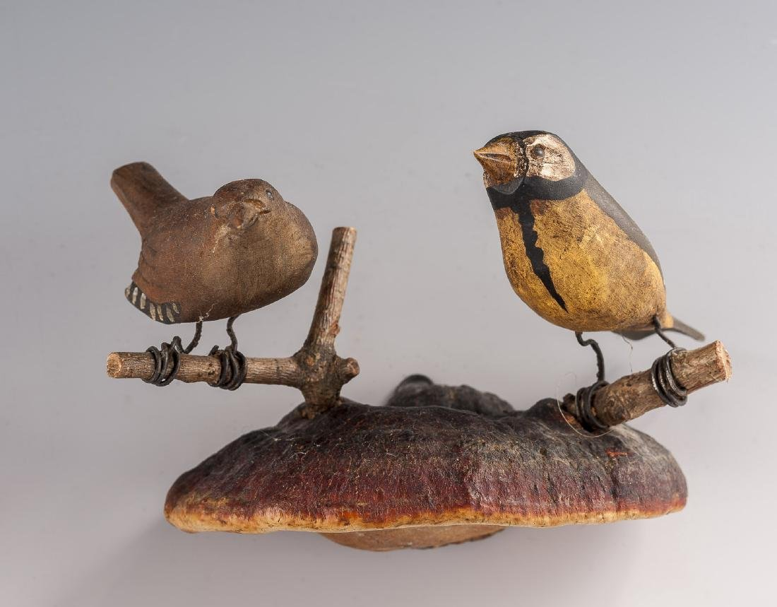 4 Carved Bird Groupings on Fungus Mounts - 2