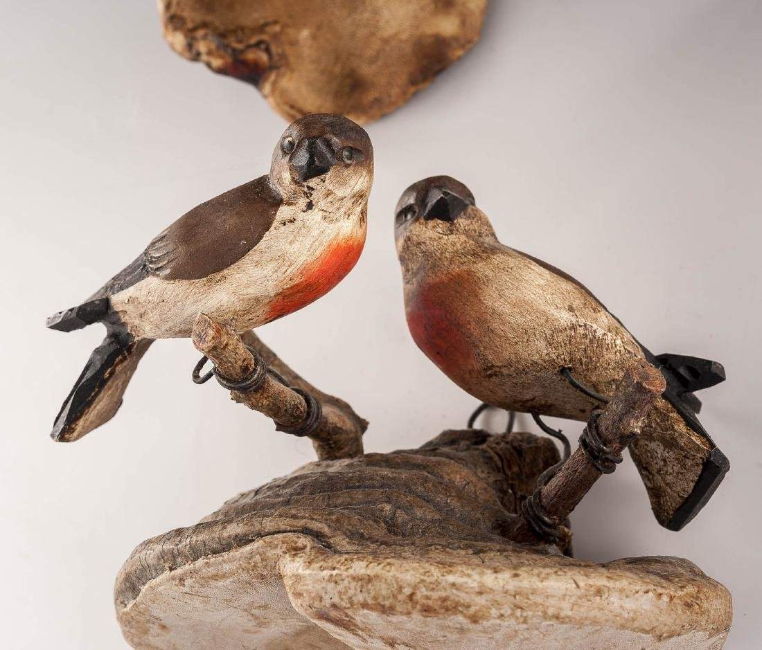 4 Carved Bird Groupings on Fungus Mounts - 3