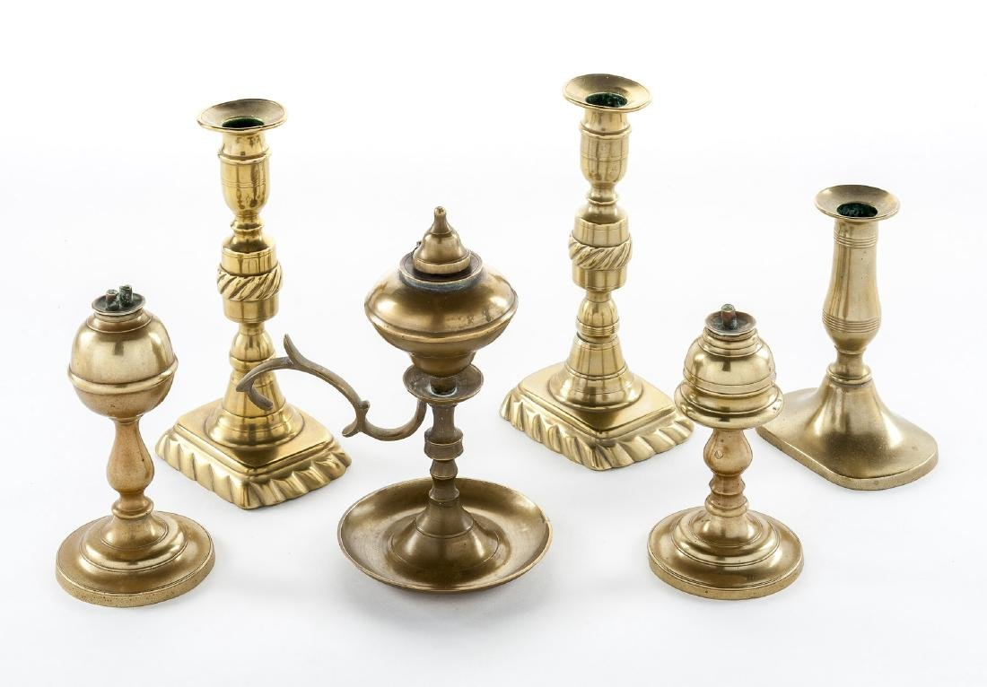 3 19th C Brass Whale Oil Lamps & 3 Candlesticks