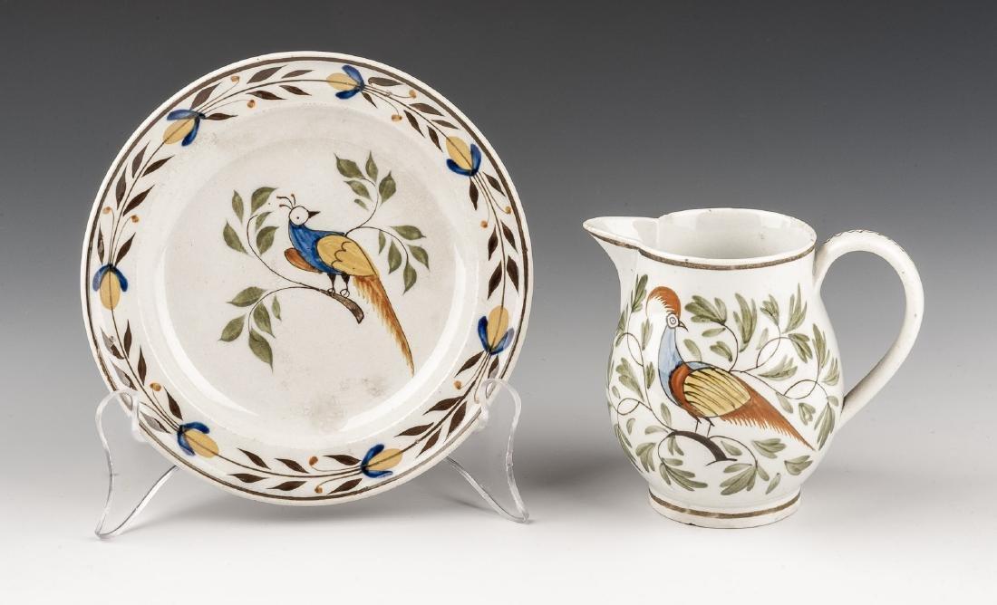 Soft Paste Peafowl Creamer & Plate