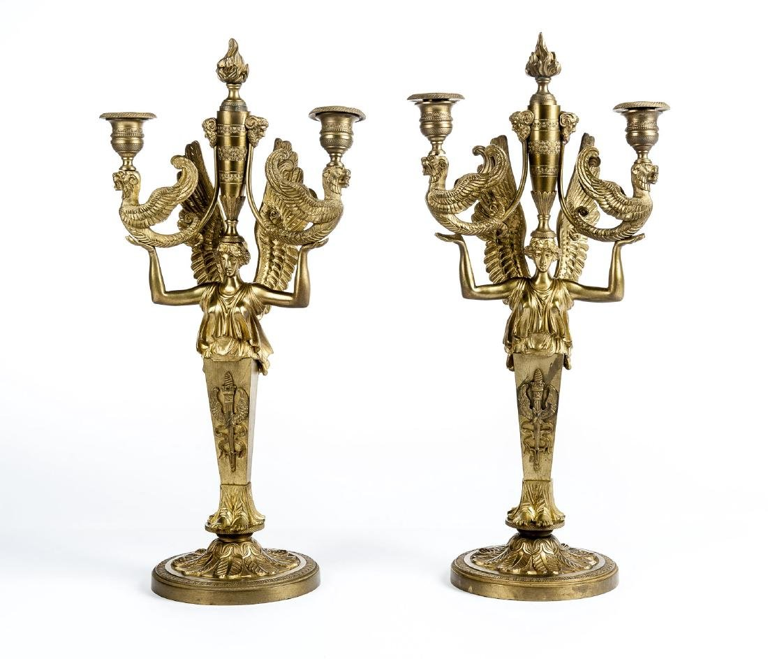 Pair of Bronze Figural Candelabra