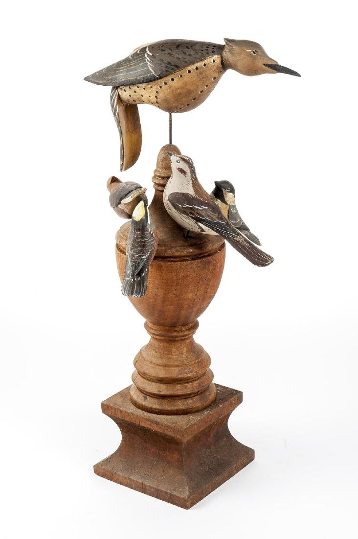 Group of Folk Art Carved Birds on Large Finial