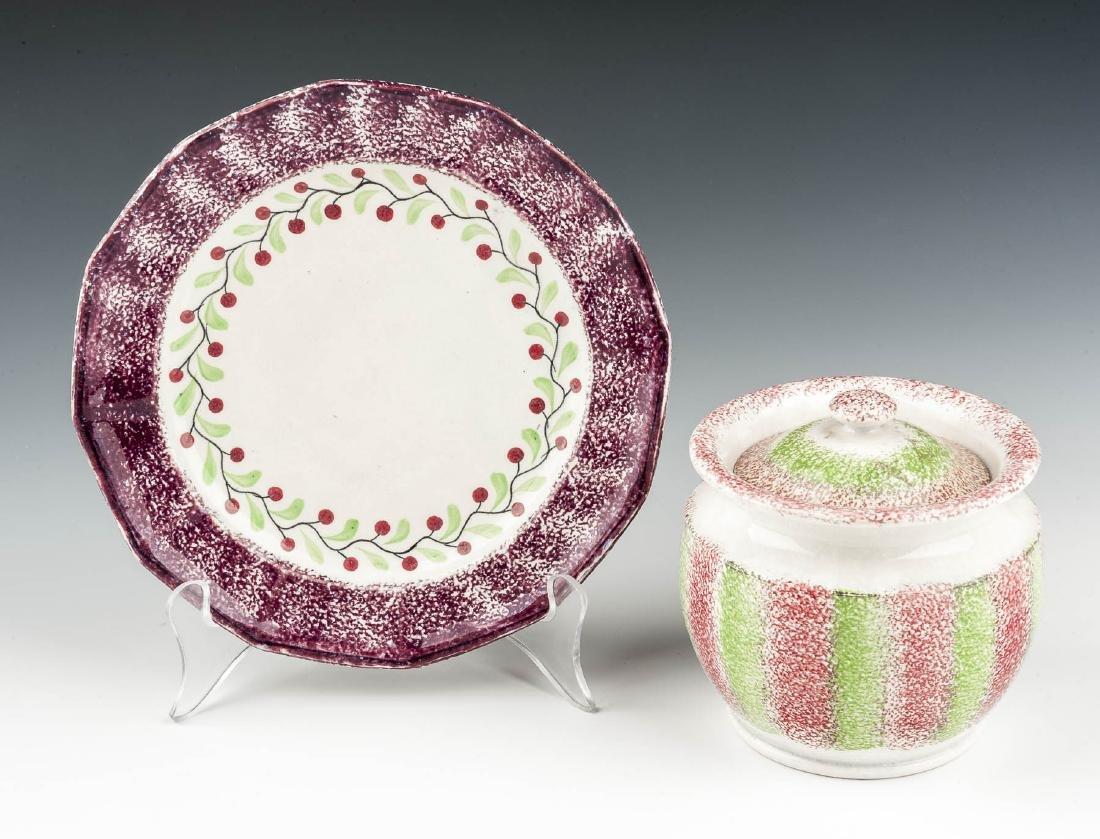 2 Pcs Spatterware Incl Lidded Sugar Bowl