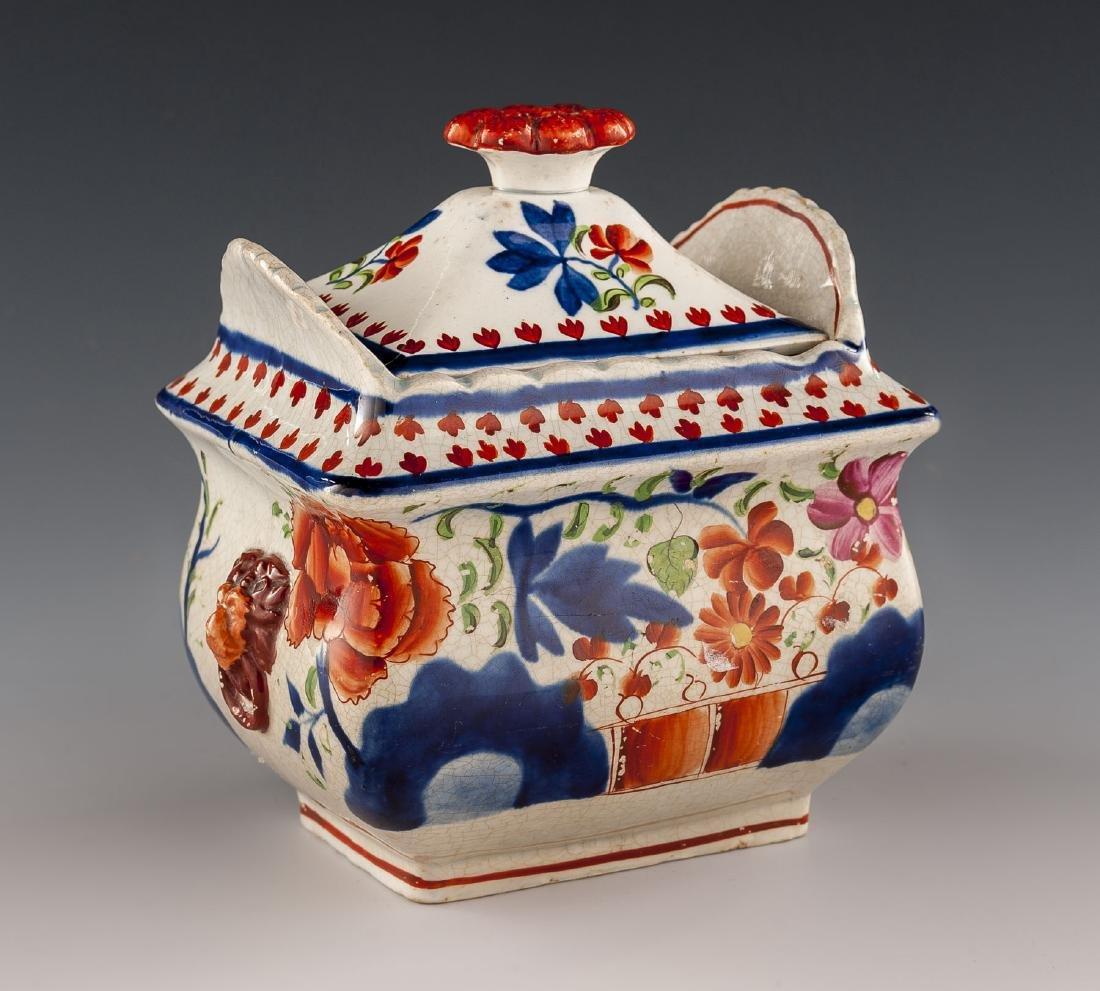 Gaudy Dutch Double Rose Lidded Sugar Bowl
