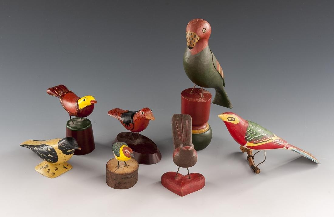 7 Folk Art Carved & Painted Birds