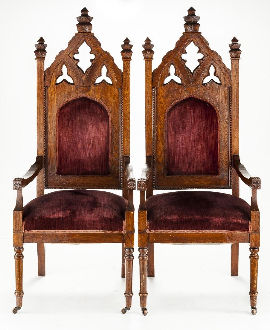 Pair of Ecclesiastical Gothic Oak Chairs