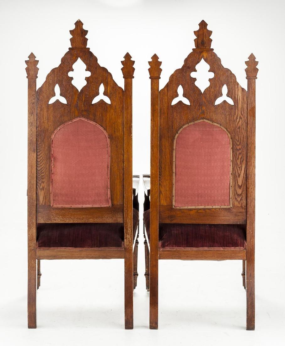 Pair of Ecclesiastical Gothic Oak Chairs - 2
