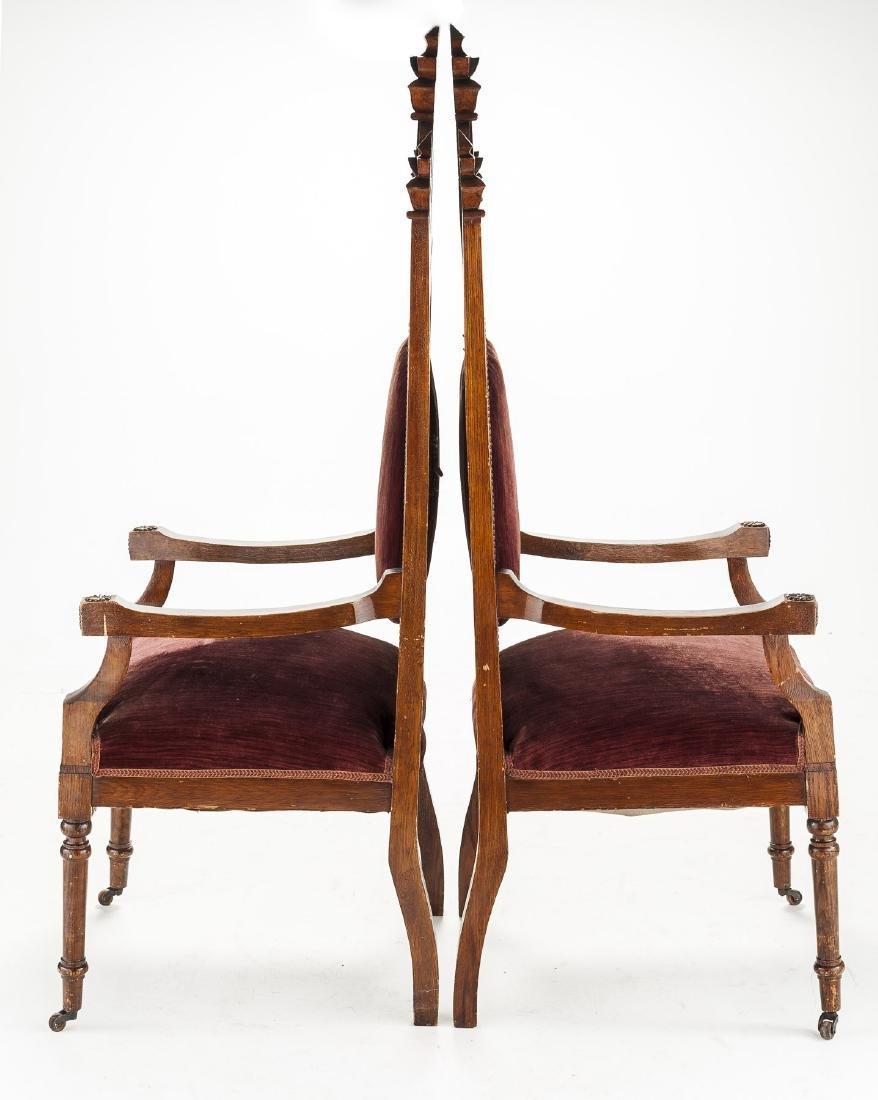Pair of Ecclesiastical Gothic Oak Chairs - 3