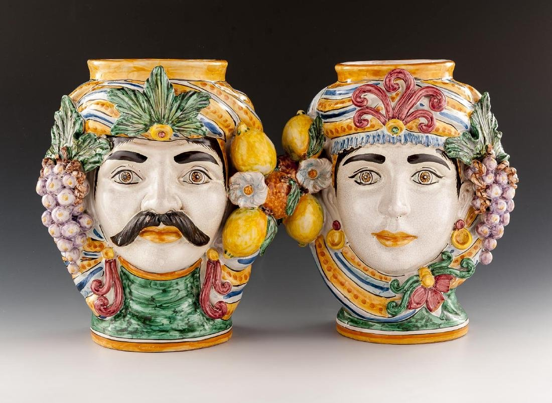 2 Caltagirone Figurine Pottery Vases