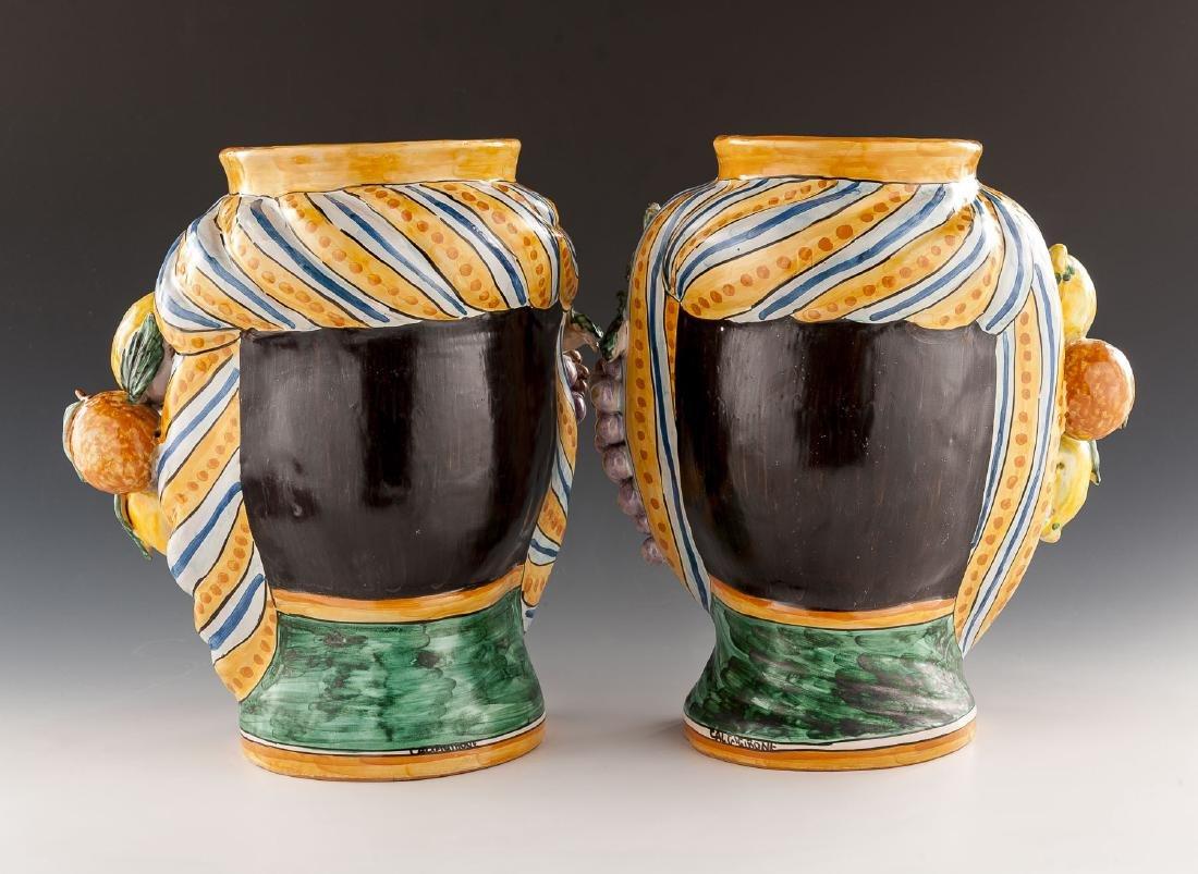 2 Caltagirone Figurine Pottery Vases - 2