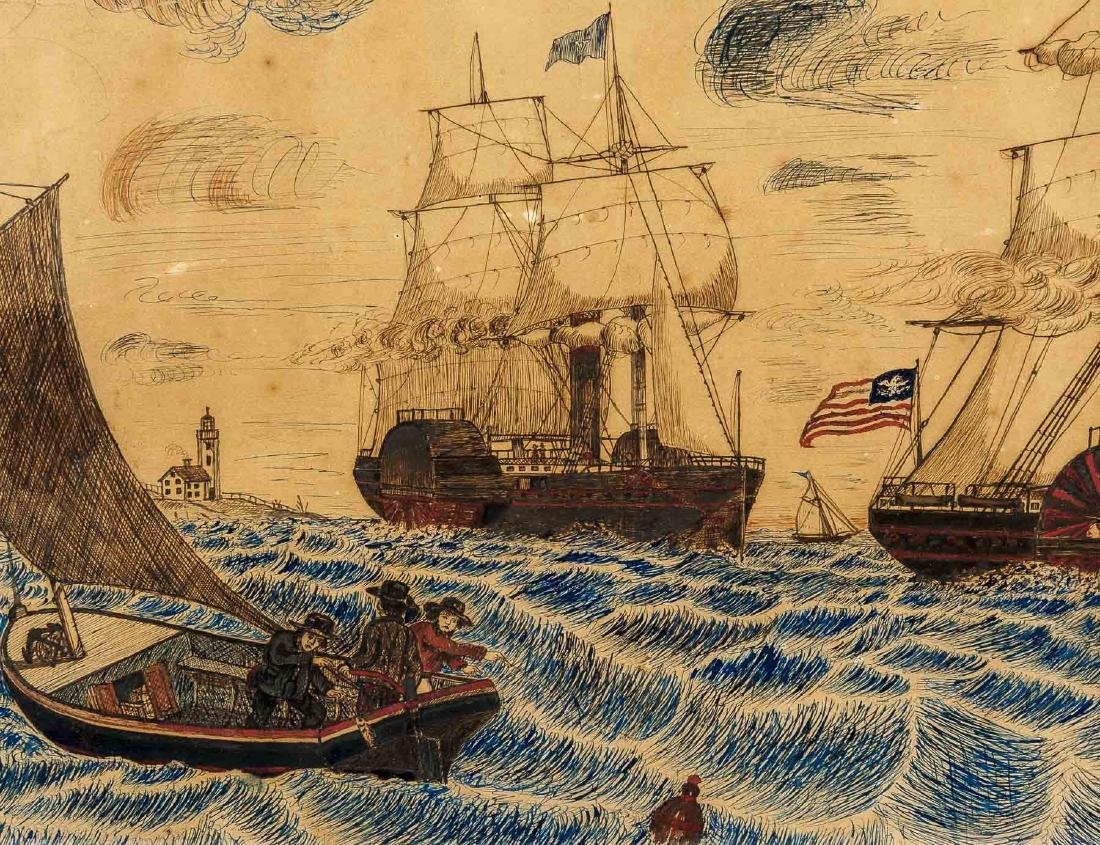 19th Century Folk Art Watercolor of American Ships
