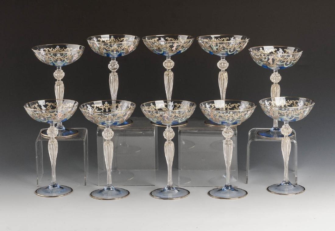 10 Murano Blue Glass & Enamel Compotes