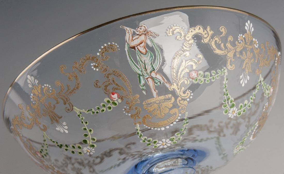 10 Murano Blue Glass & Enamel Compotes - 3