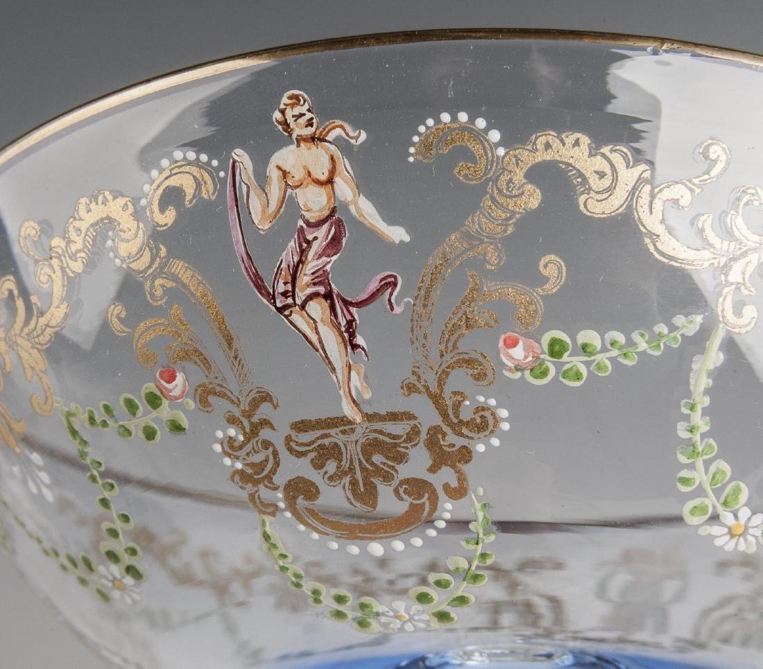 10 Murano Blue Glass & Enamel Compotes - 4