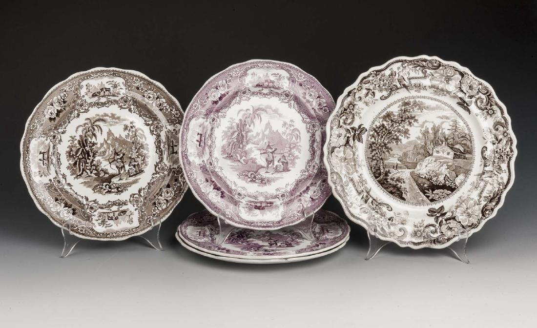 5 Staffordshire Transferware Plates Incl Mulberry