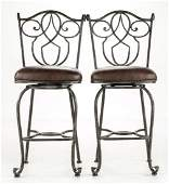 Pair of Contemporary Wrought Iron Stools