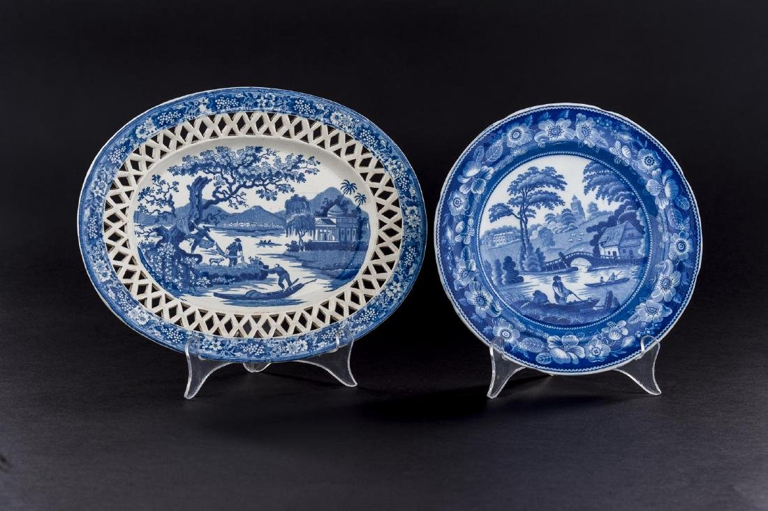 2 Staffordshire Flow Blue Plates Incl Reticulated