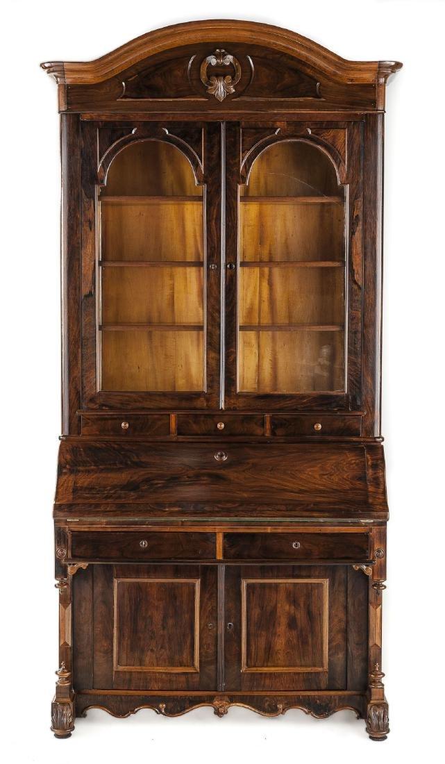 Desk & Bookcase/Escritoire Signed Henkels, Phila.
