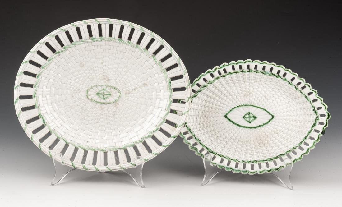 2 Pcs Staffordshire Basket Weave Creamware