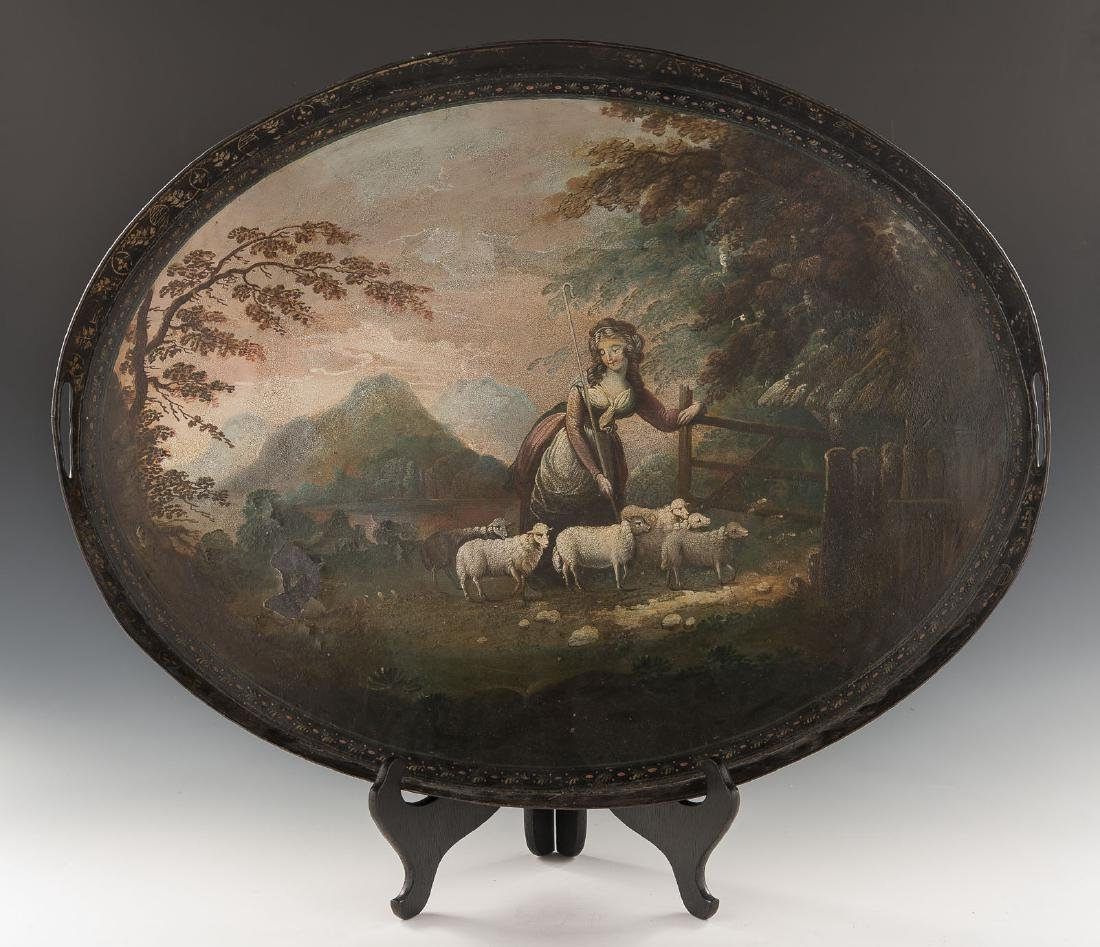 Early 19th C Painted Tole Tray with Pastoral Scene