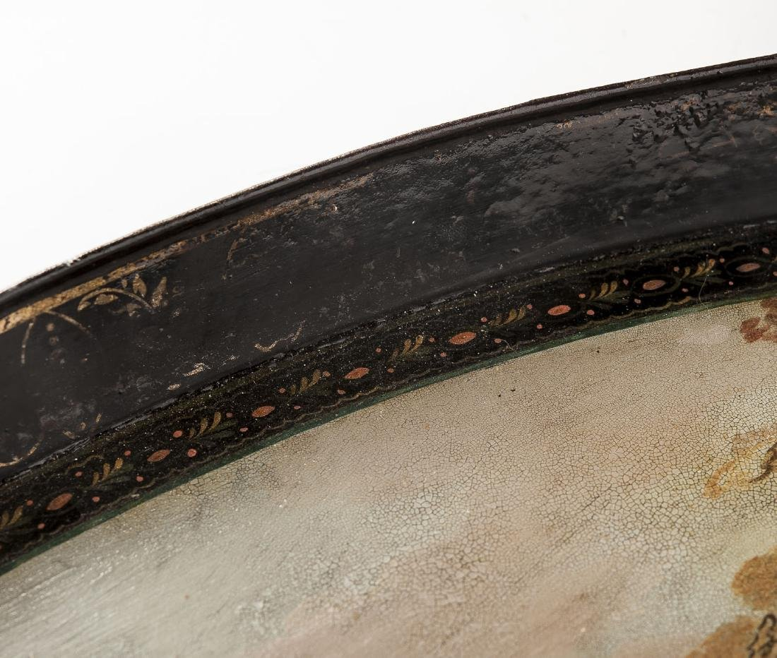 Early 19th C Painted Tole Tray with Pastoral Scene - 6