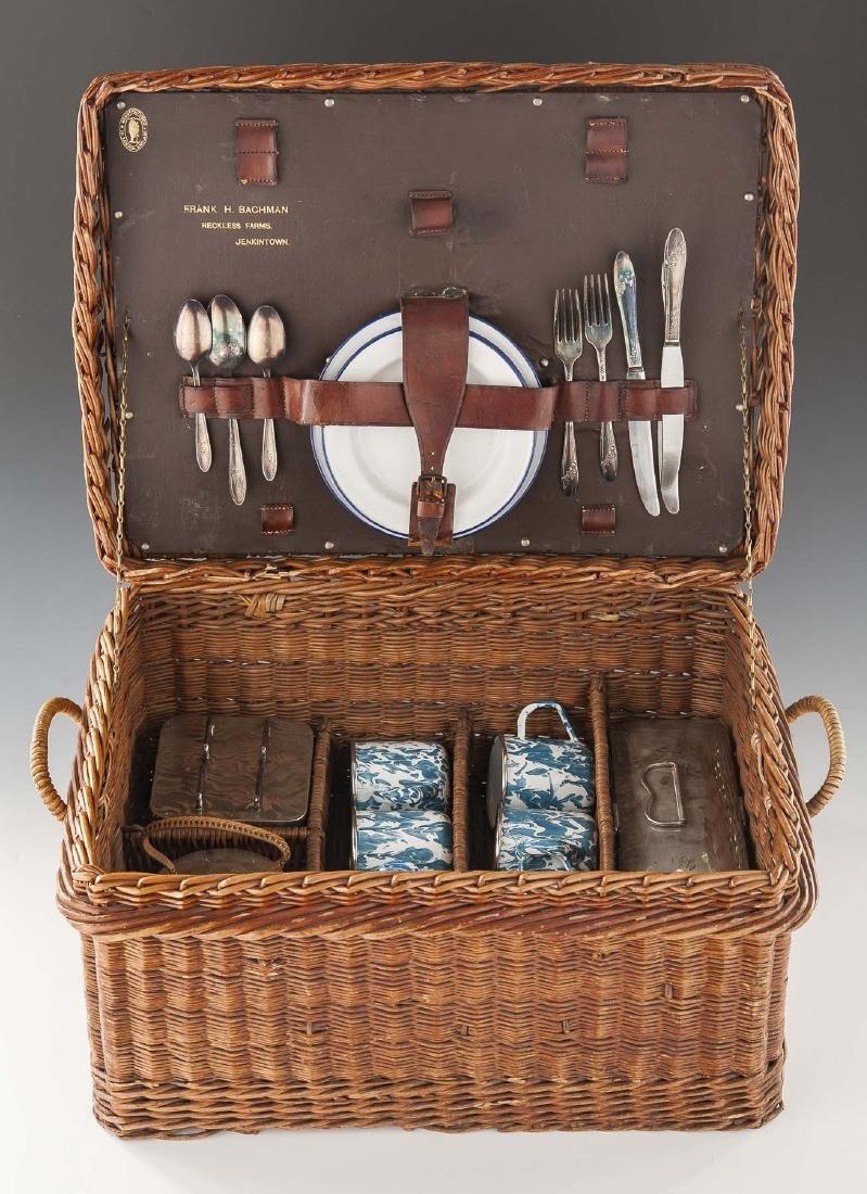 Vintage Rattan Picnic Basket with Dining Set