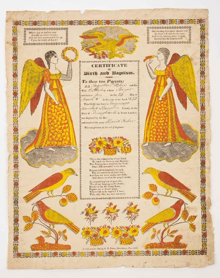 2 G.S. Peters Harrisburg, PA Printed Frakturs - 2