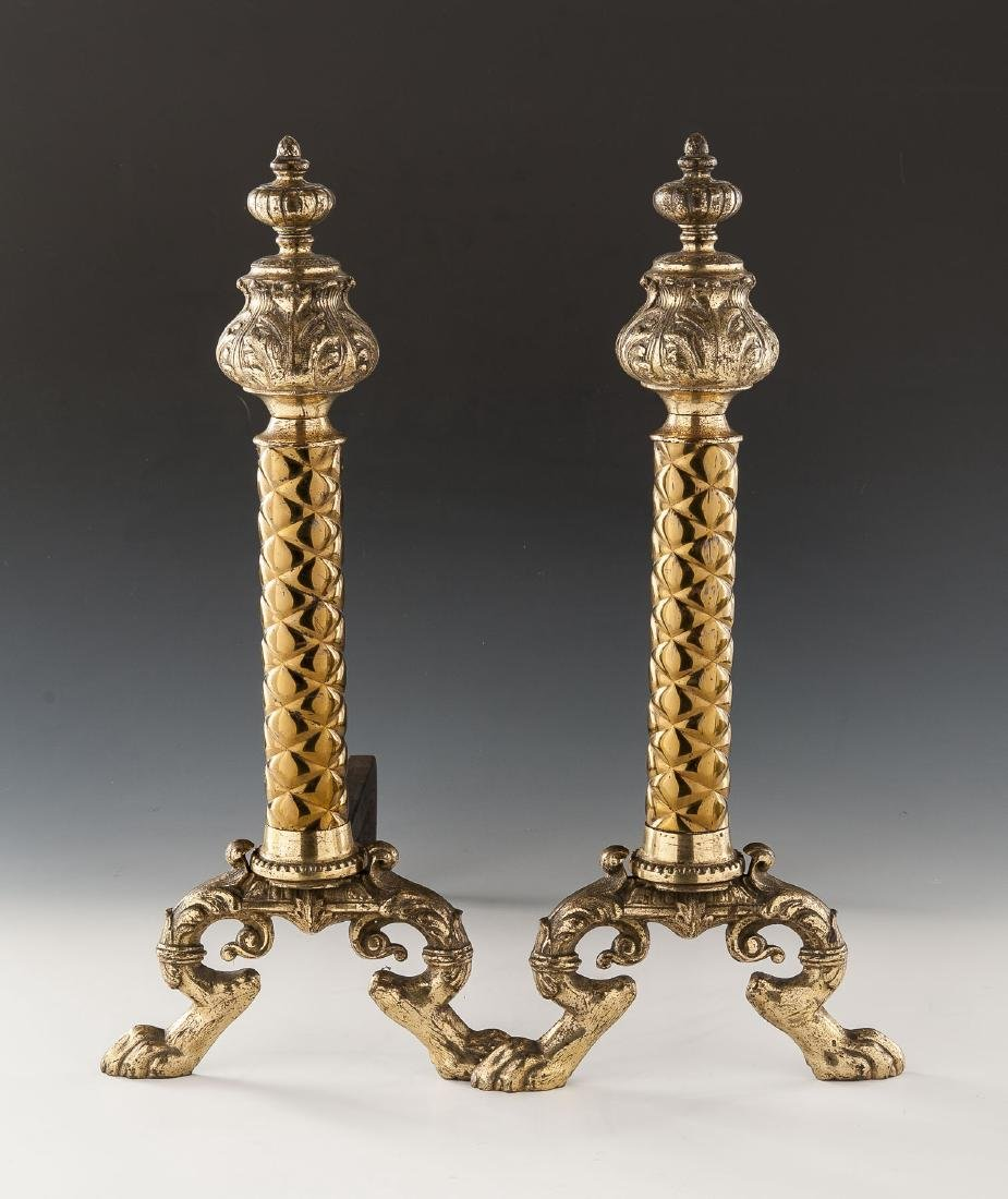 Pair of Neoclassical Brass Andirons