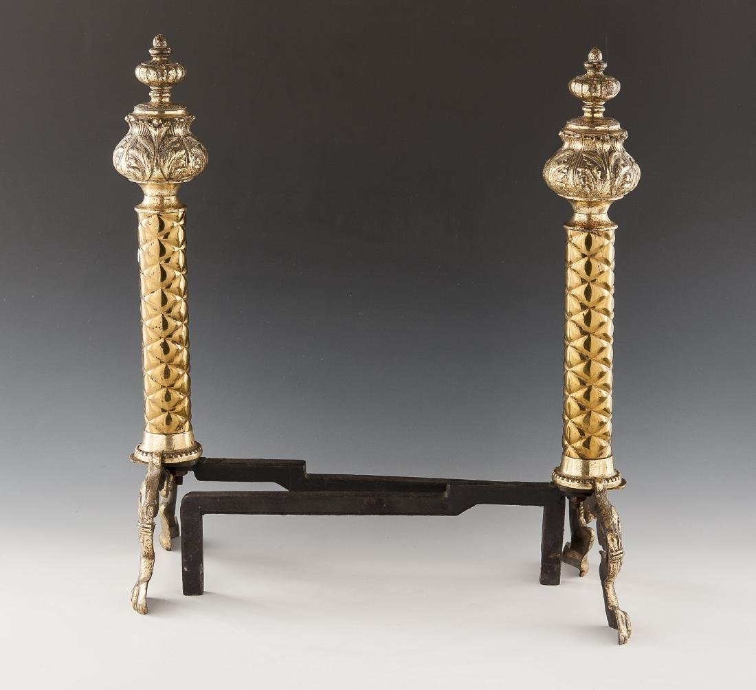 Pair of Neoclassical Brass Andirons - 2