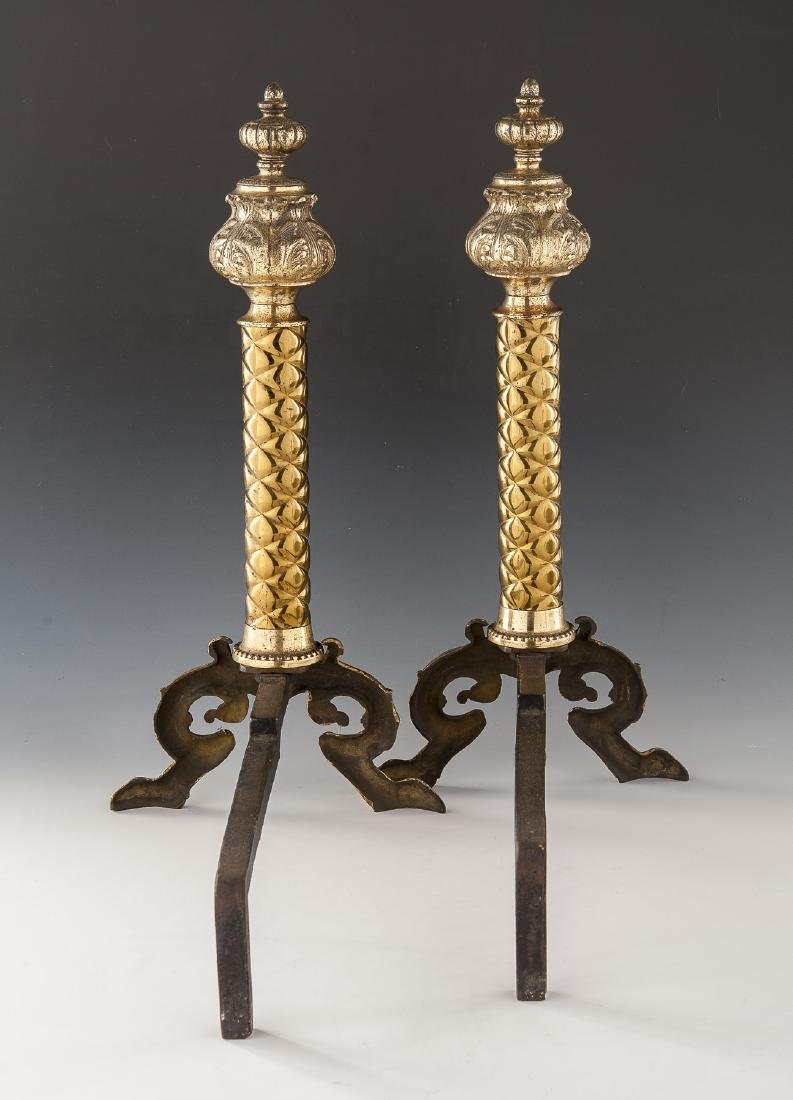 Pair of Neoclassical Brass Andirons - 3