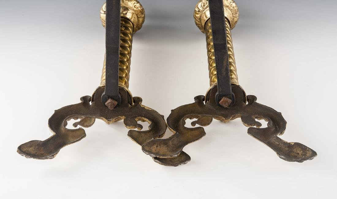 Pair of Neoclassical Brass Andirons - 4