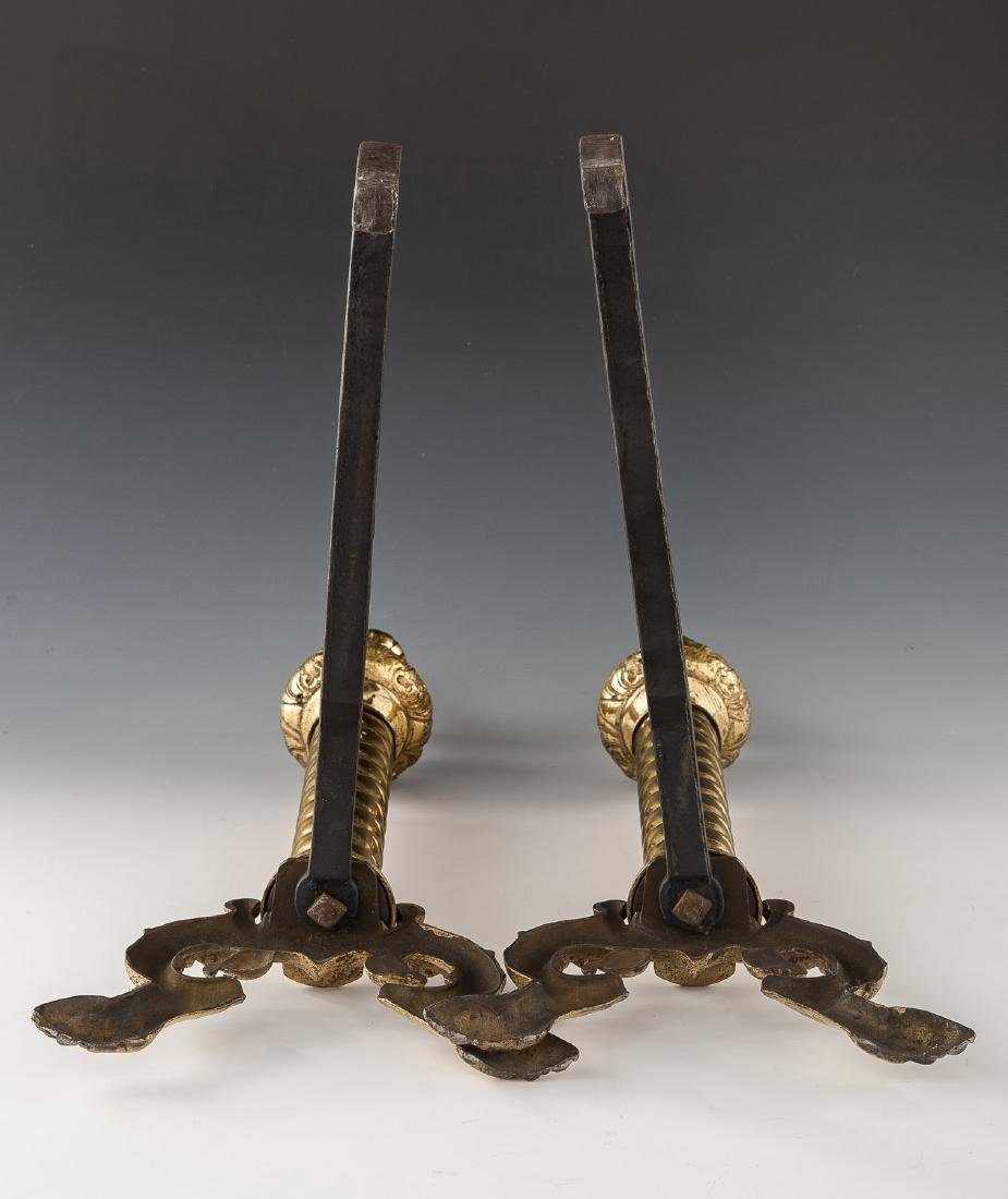 Pair of Neoclassical Brass Andirons - 5