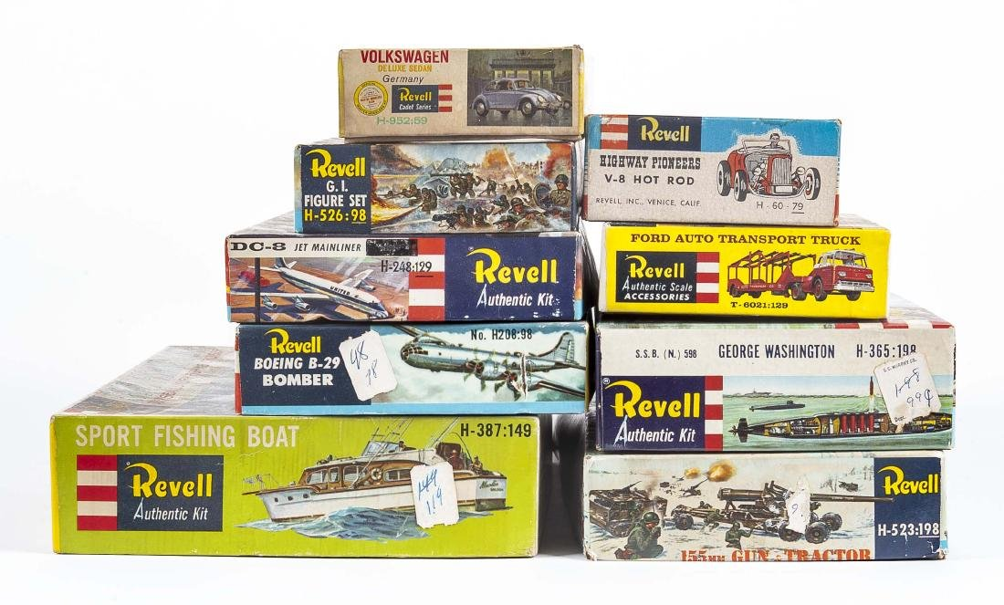 9 Vintage Revell Model Kits in OBs Incl Planes