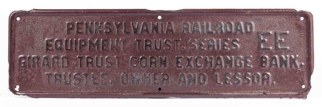 Vintage Embossed PRR Equipment Trust Sign
