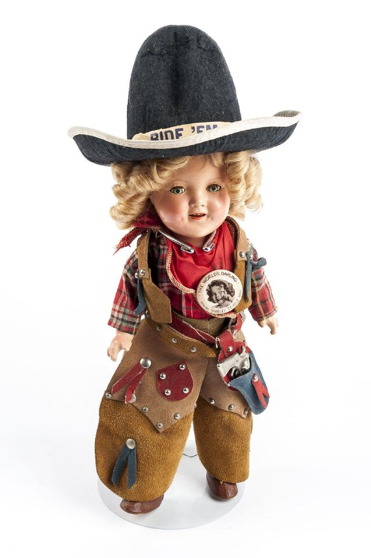 """Shirley Temple 11"""" Composition Cowgirl Doll in OB"""