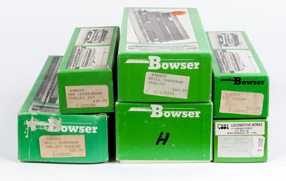 6 Bowser O & HO Kits in OBs Incl Trolleys