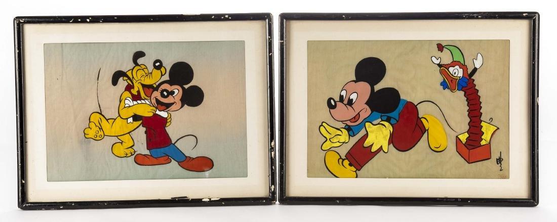 Pair of Disney Paintings on Silk